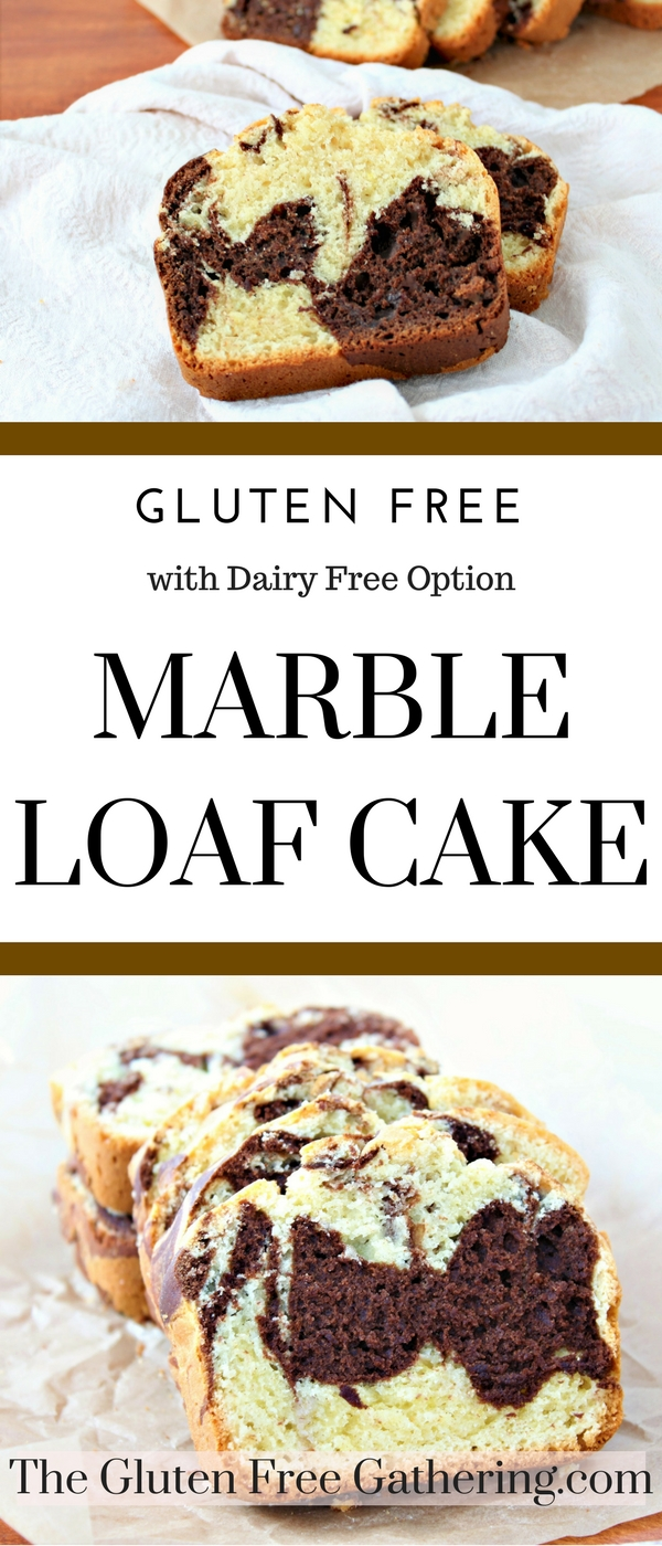 Gluten Free Marble Loaf Cake - The Gluten Free Gathering - A classic with all of the chocolate swirls you love. #glutenfree #marbleloaf #glutenfreebaking #glutenfreebreakfast #glutenfreecake #dairyfree #dairyfreeoption