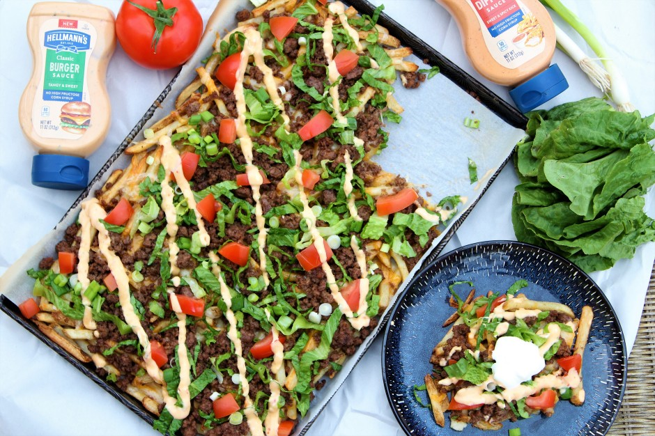 Loaded Cheeseburger Nacho French Fries - The Gluten Free Gathering