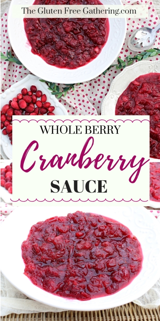 Whole Berry Cranberry Sauce - The Gluten Free Gathering - A secret ingredient is the key to making this simple side dish amazing. #cranberries #cranberrysauce #sidedish #Thanksgiving #glutenfree #glutenfreesidedish #glutenfreerecipes