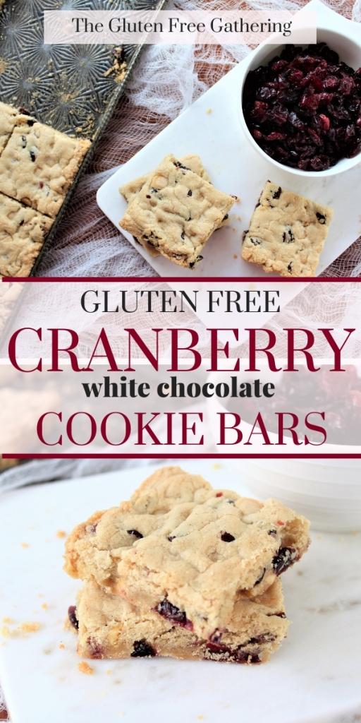 Cranberry White Chocolate Cookie Bars Gluten Free