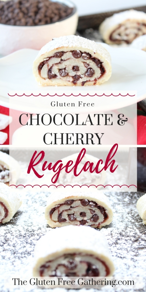 These little bundles of light and flaky crust are filled with cherry preserves and chocolate chips. Dusted with powdered sugar, these gluten free chocolate cherry rugelach must find their place in your Christmas cookie lineup. #glutenfree #glutenfreecookies #glutenfreechristmas #glutenfreerugelach #rugelach #glutenfreebaking